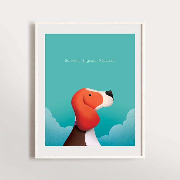 Affiche beagle – Dans les nuages