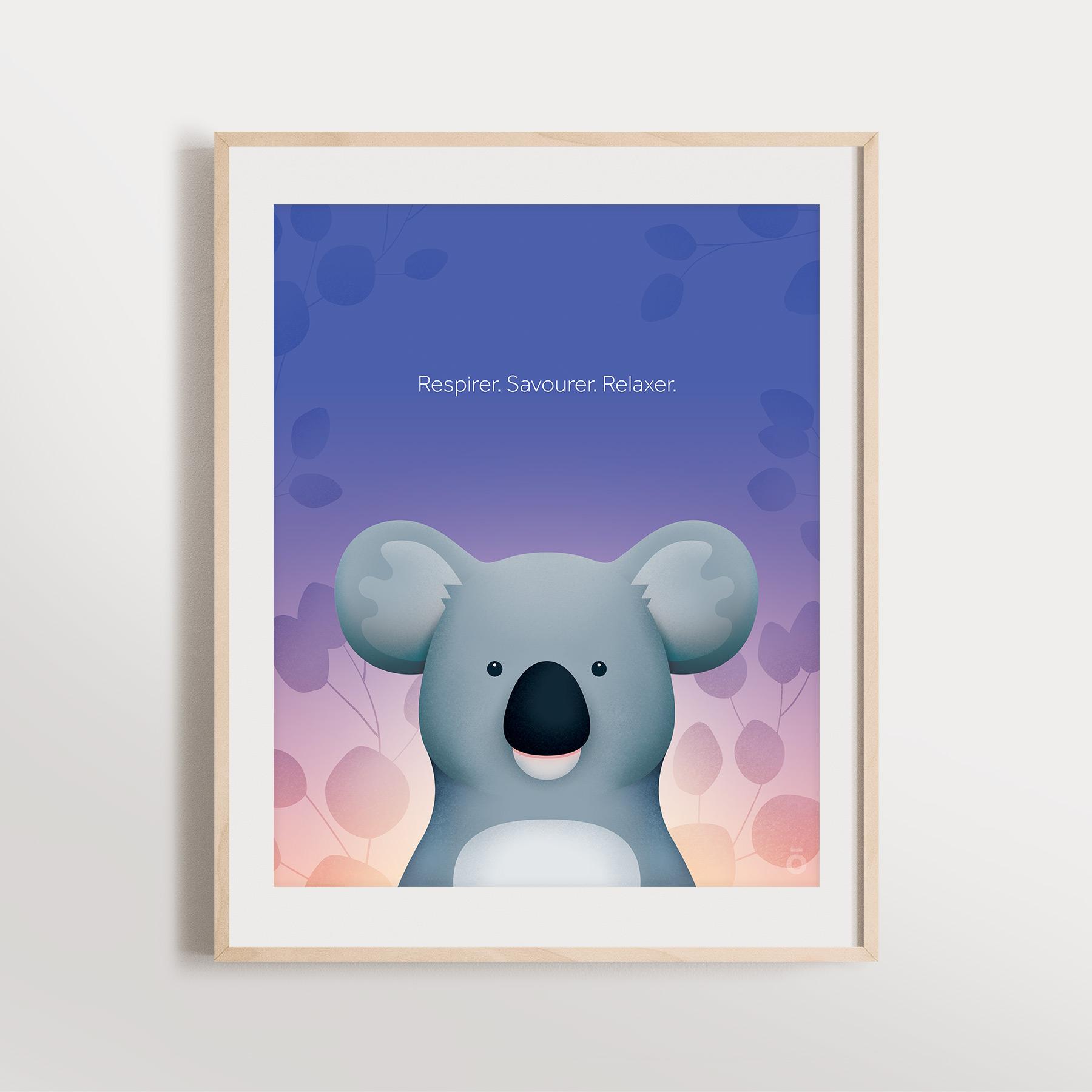 Affiche koala - Crépuscule violet