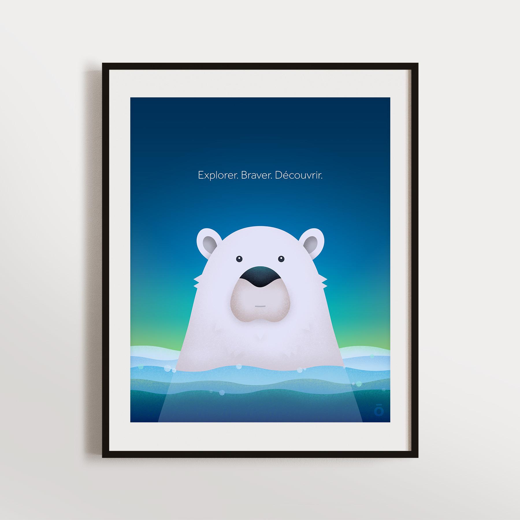 Affiche ours polaire - Aurore boréale