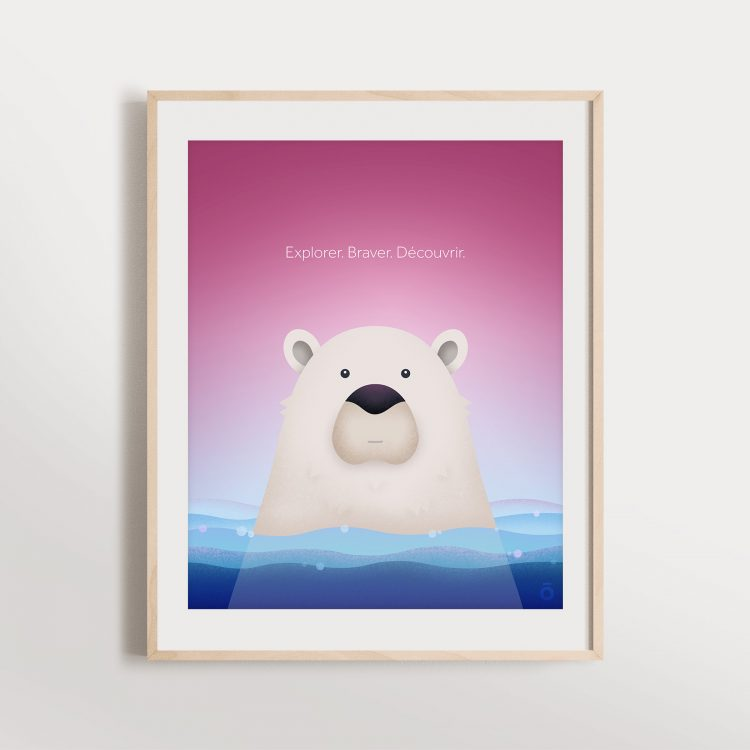 Affiche ours polaire - Frimas magenta