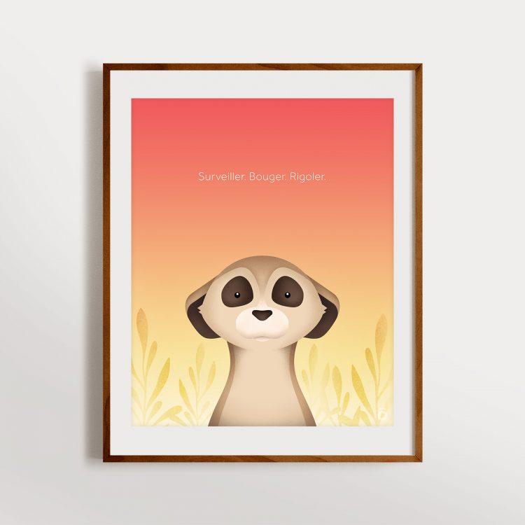 Affiche suricate – Chaleur du désert