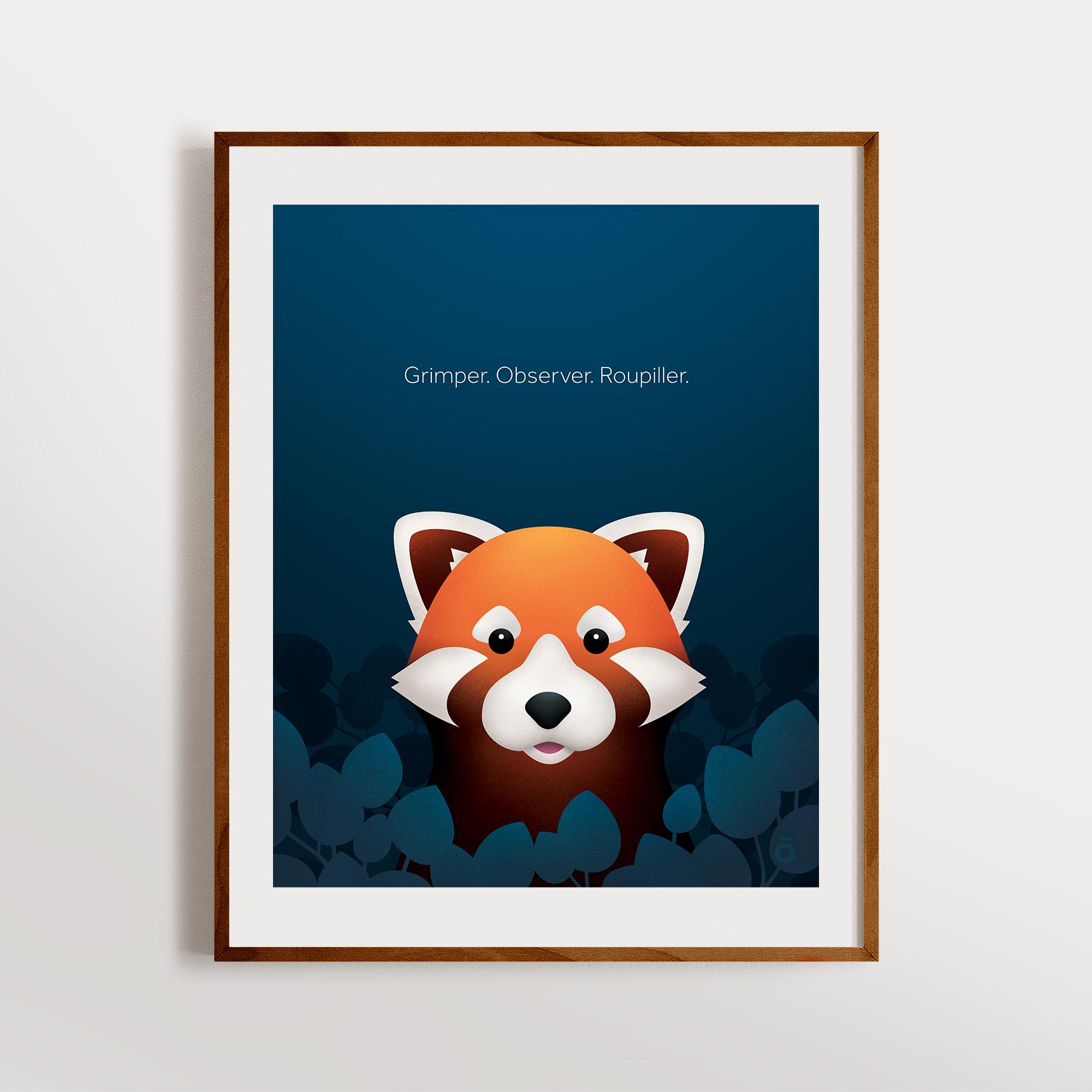 Affiche panda roux – Nouvelle lune