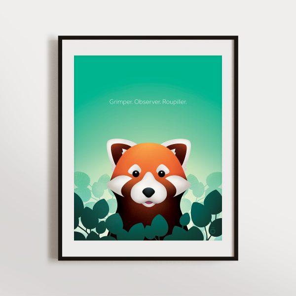 Affiche panda roux – Jardins mentholés