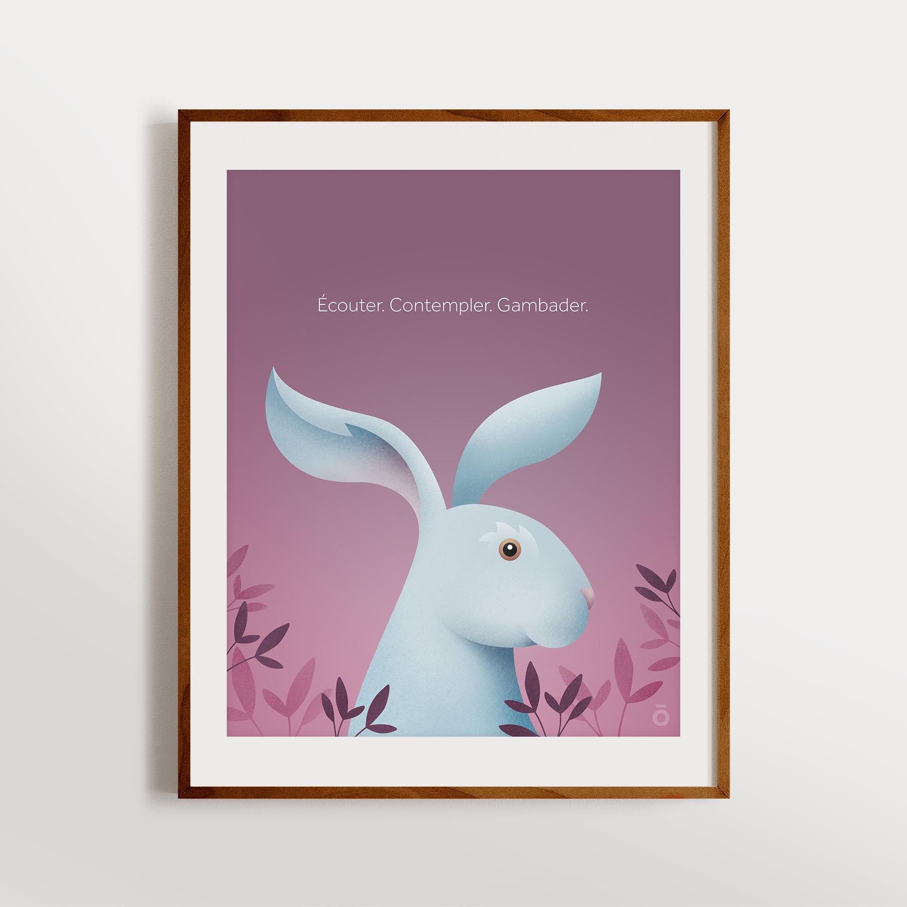 Affiche – Lièvre charmant (Brume pourpre)