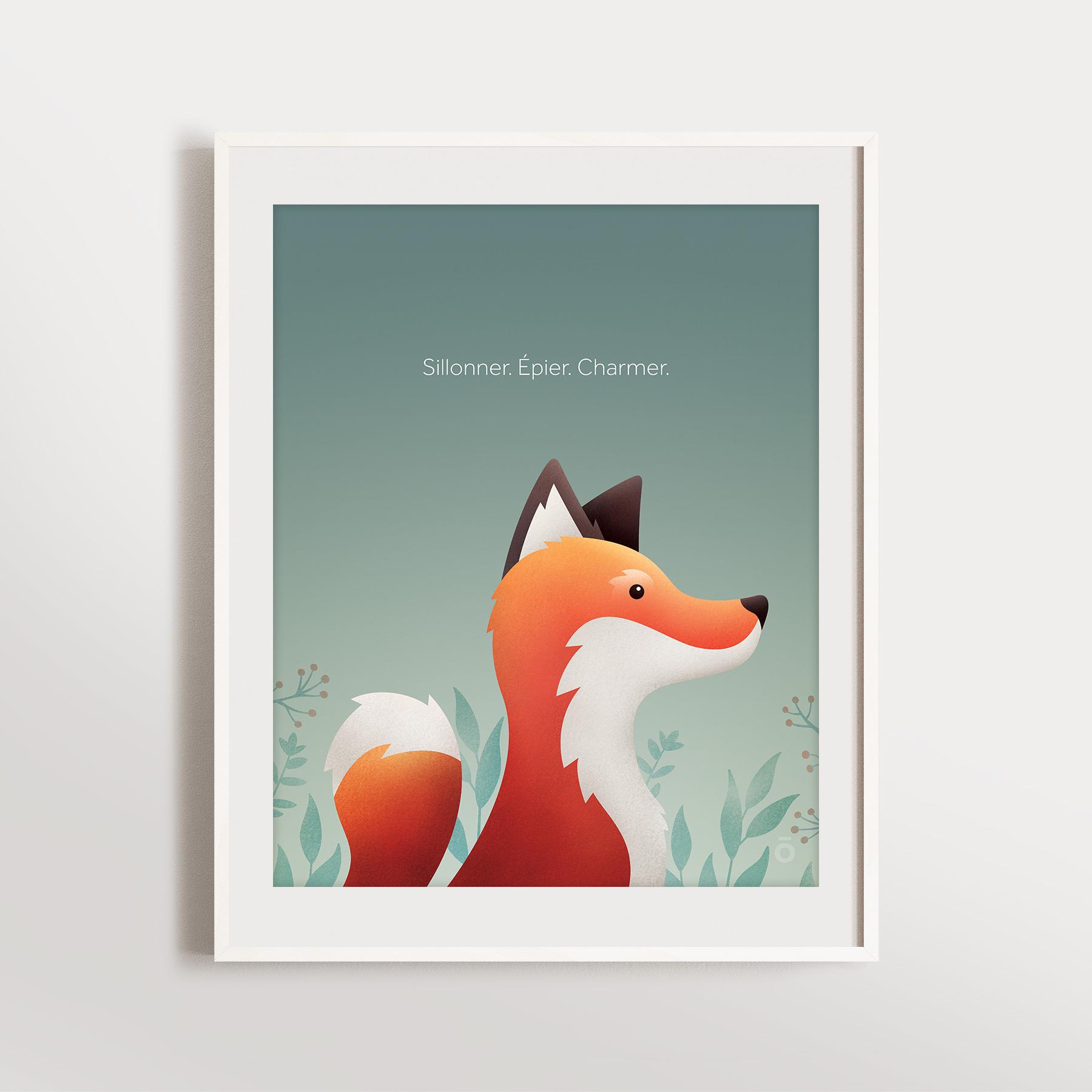 Affiche renard – Vert lichen