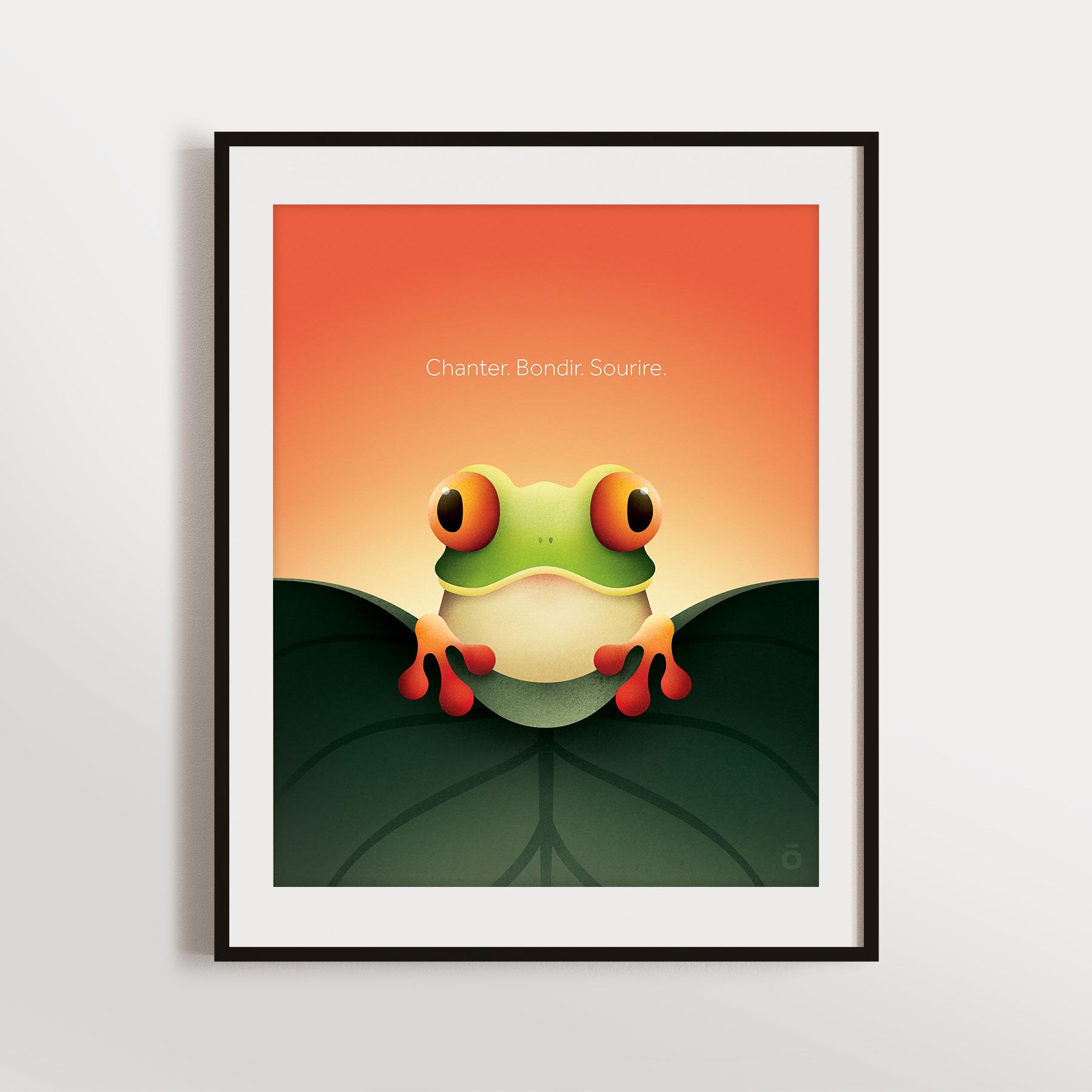Affiche rainette espiègle – Orange canicule