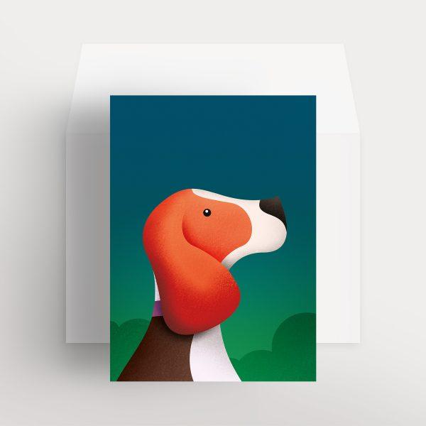 Carte de souhaits – Apollo, l'adorable beagle (Bleu – Nuit d'été)