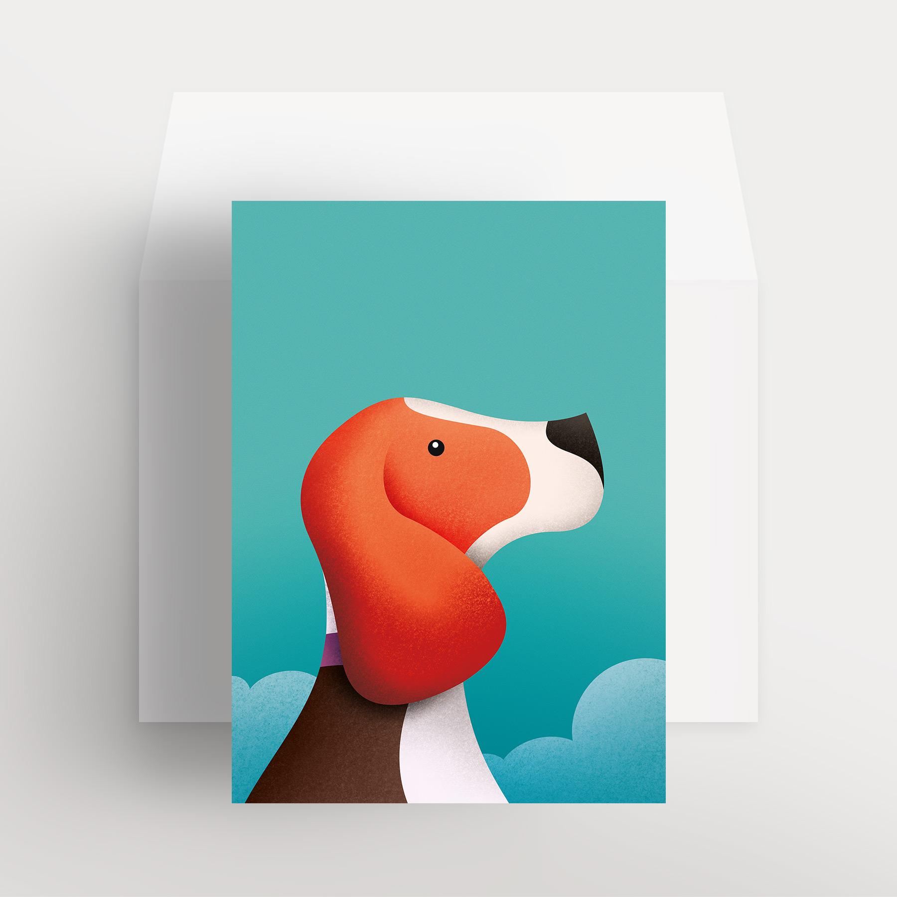 Carte de souhaits – Apollo, l'adorable beagle (Turquoise – Dans les nuages)