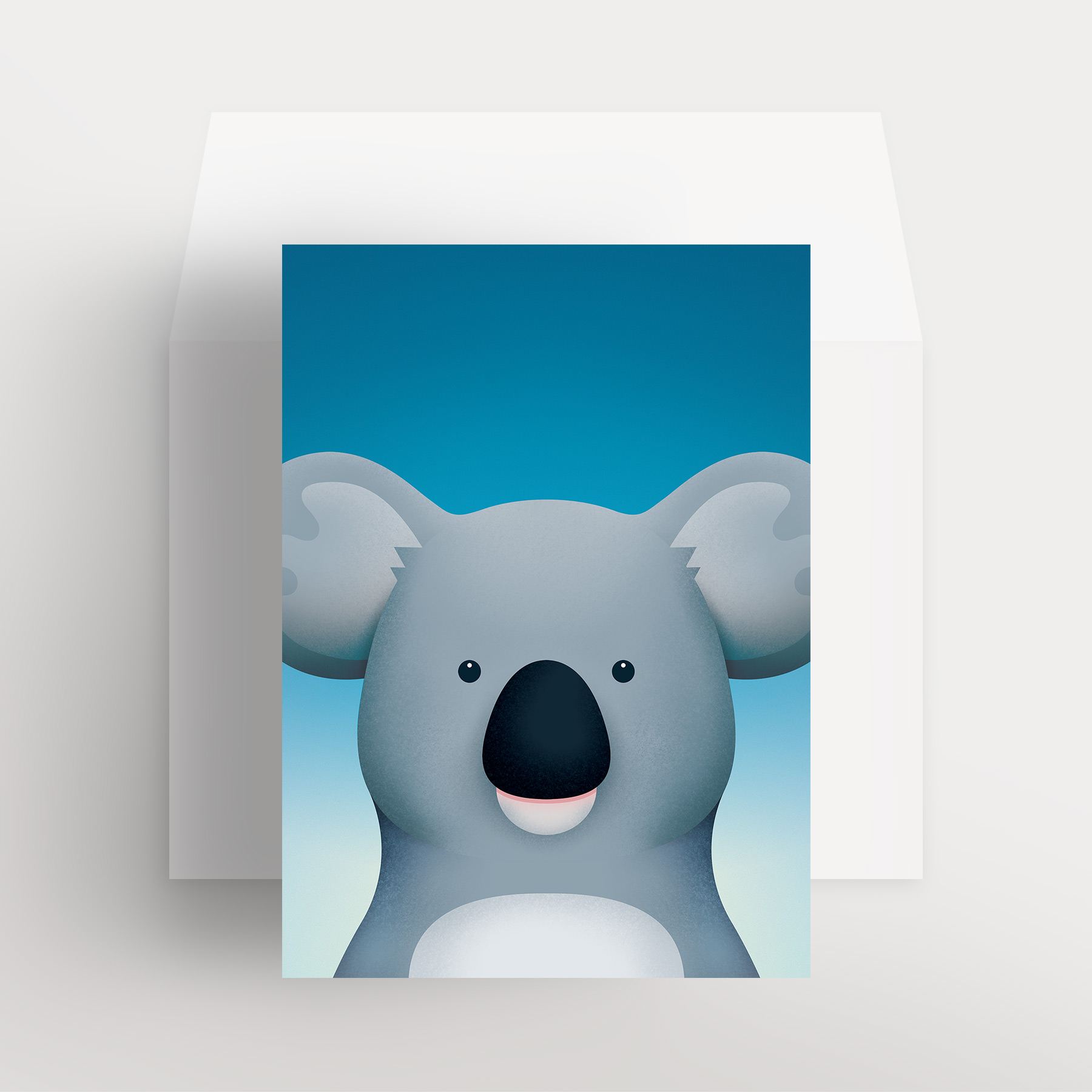 Carte de souhaits – Koala bienveillant (Bleu – Nuit lumineuse)