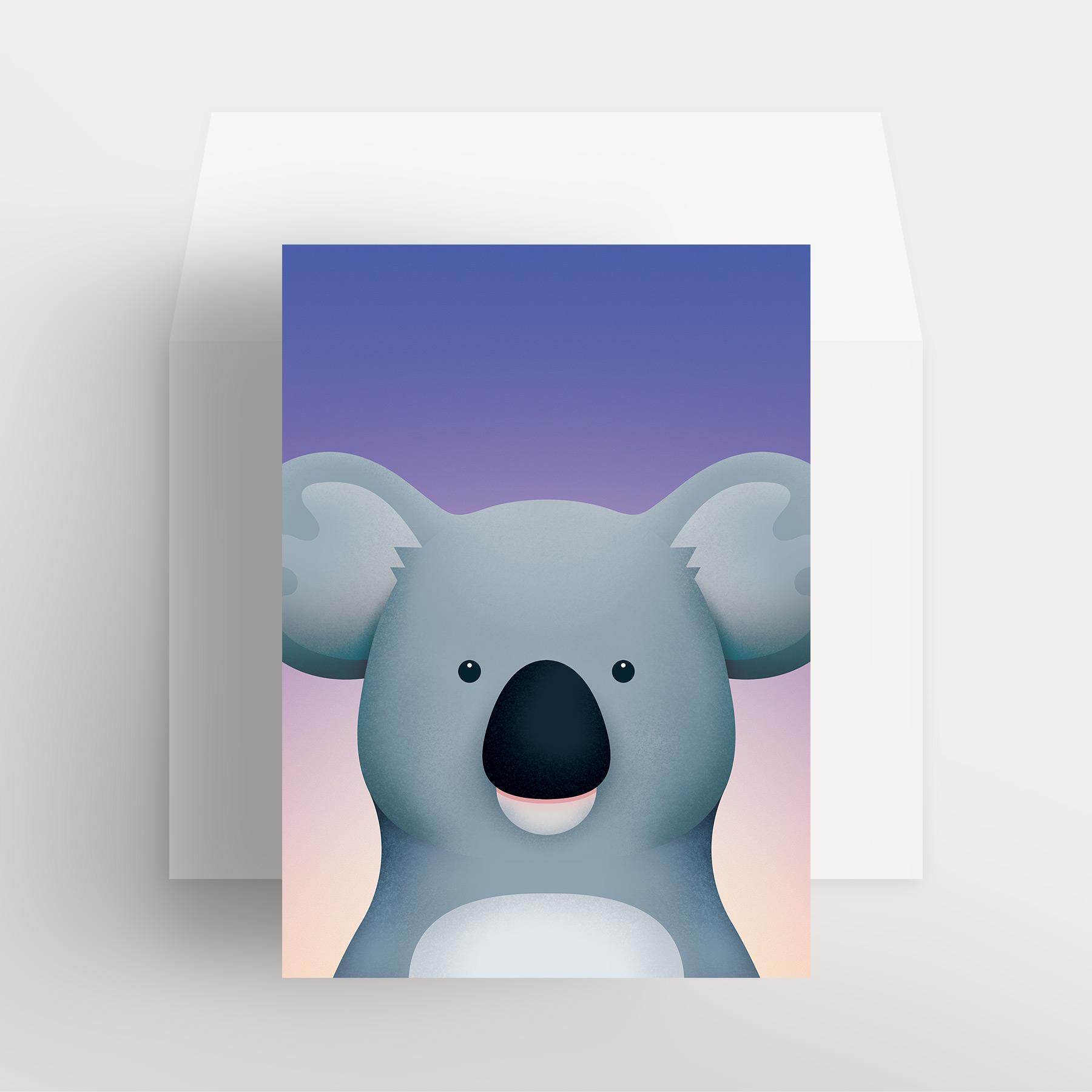 Carte de souhaits – Koala bienveillant (Mauve – Crépuscule violet)
