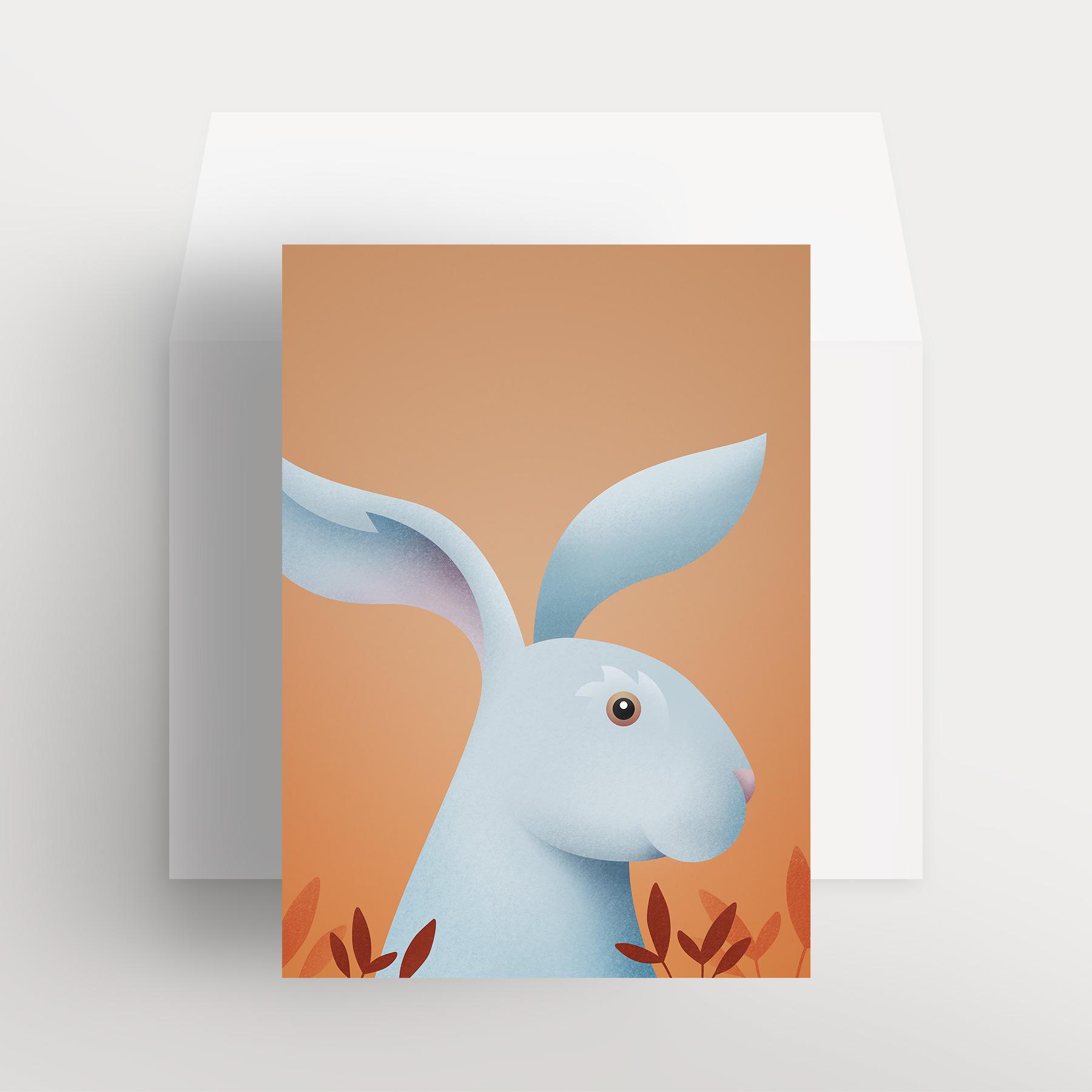 Carte de souhaits – Lièvre charmant (Ocre – Clarté automnale)