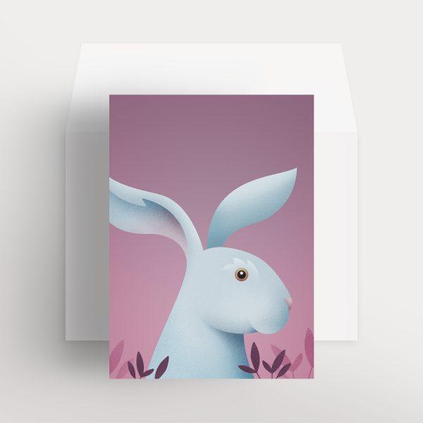 Carte de souhaits – Lièvre charmant (Mauve – Brume pourpre)