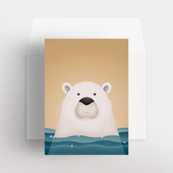 Carte de souhaits – Ours polaire paisible (Ocre – Doux souvenirs)