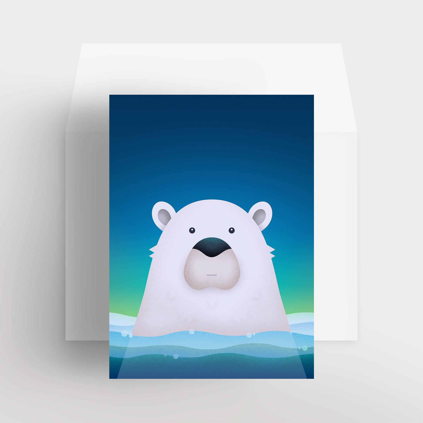 Carte de souhaits – Ours polaire paisible (Bleu – Aurore boréale)