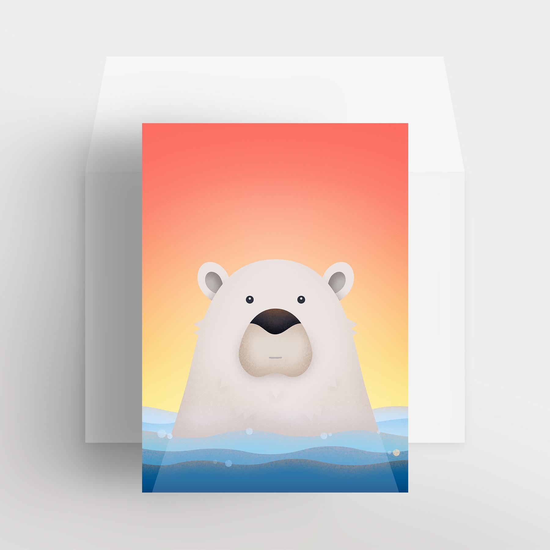 Carte de souhaits – Ours polaire paisible (Orange – Bain de soleil)