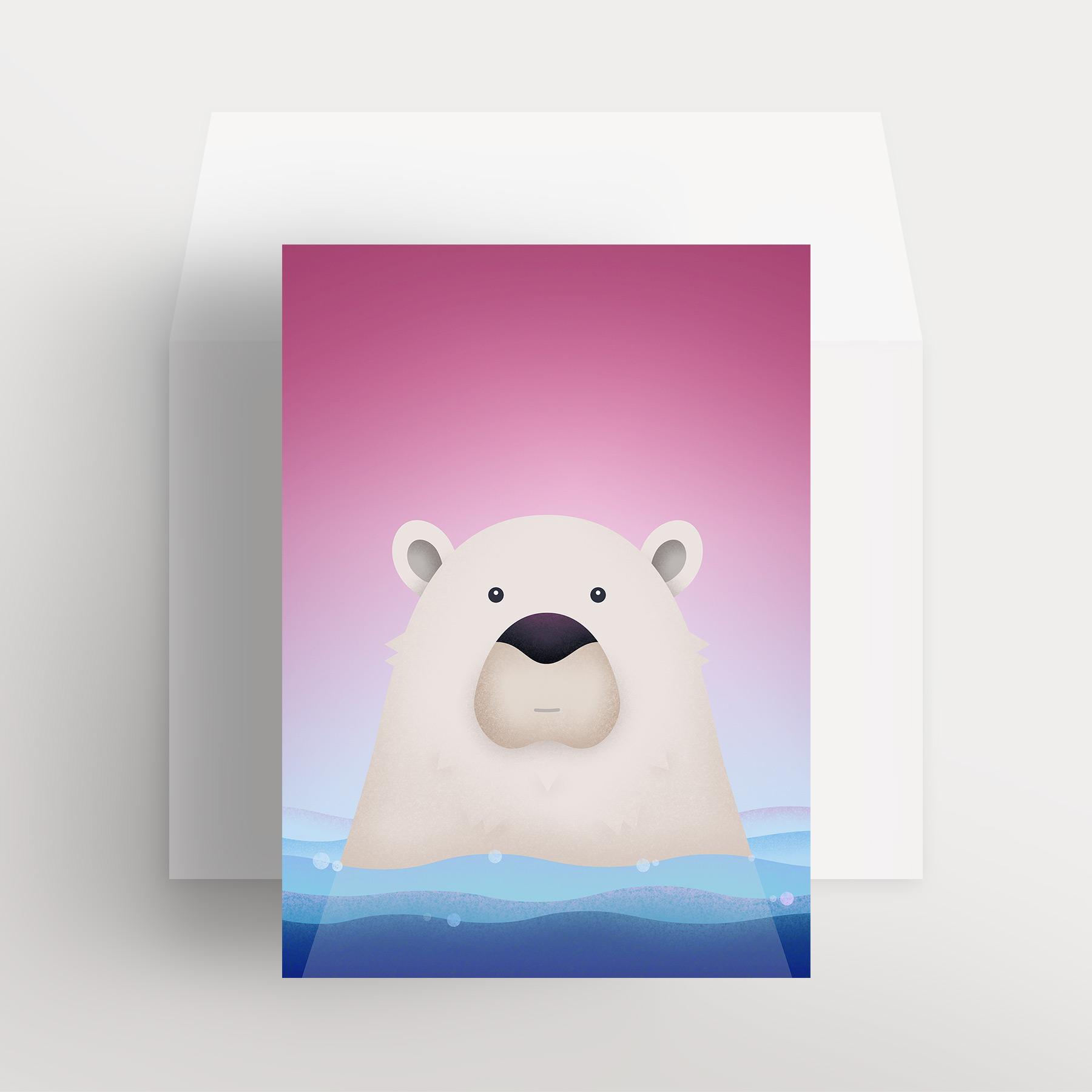 Carte de souhaits – Ours polaire paisible (Rose – Frimas magenta)