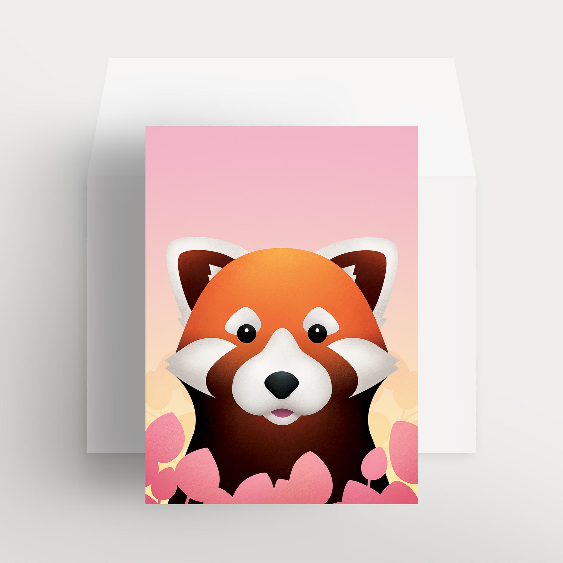 Carte de souhaits – Renard roux curieux (Rose – Réveil pastel)