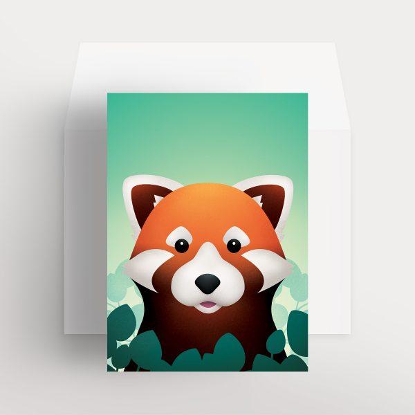Carte de souhaits – Renard roux curieux (Vert – Jardins mentholés)