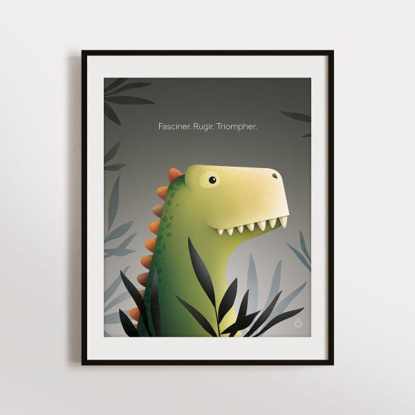Affiche – L'éveil du tyrannosaure (Gris – Poussière d'astéroïde)